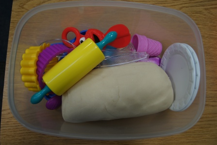"""The """"Snow"""" playdough turned out great!"""