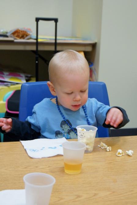 My son enjoying his snack.