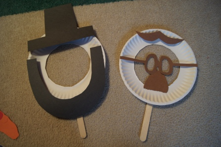 After finding pictures of the  different presidents, I started to cut-out the different facial features to add to the masks.  Abraham Lincoln and Teddy Roosevelt anyone??