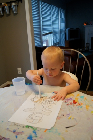 I had to have an activity for my son to do too, so he had a water painting book to work on.
