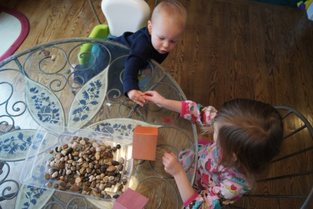 They made an assembly line.  My son handed my daughter the rocks and she put them in the house.  Teamwork!