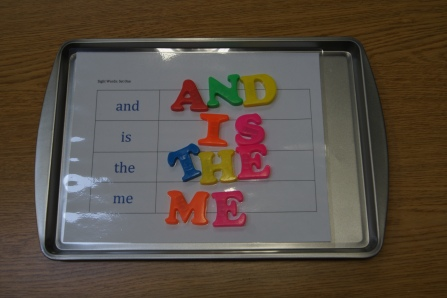 I created a table on Word with four different sight words on them.  I found the coorespnding  letters for each word with magnets and placed them on a cookie sheet (from the dollar store).  Kids had to spell out the words with the correct letters.
