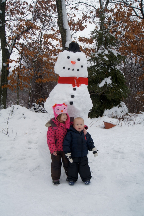 Our snowman was so perfect! He looked like he had just come out of a book!  The kids were proud of their hard work and so what their Daddy!