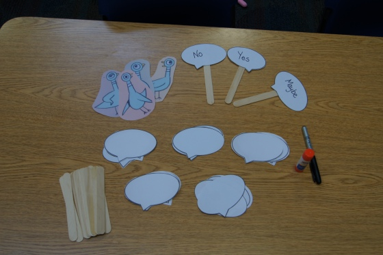 Here are the materials for the puppets that we made.  You can see the pigeons in the left corner.  The speech bubbles were used for a different activity, which I will post about shortly.