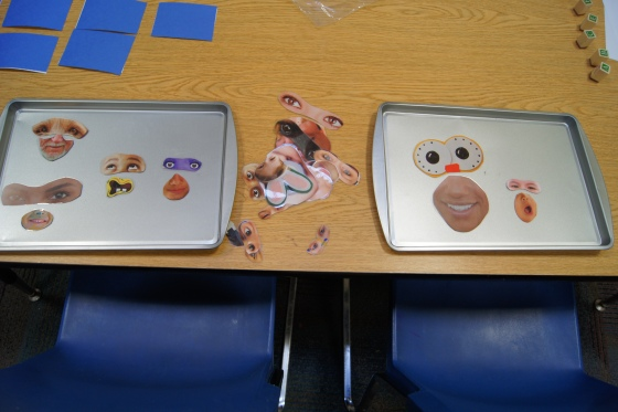 This station was so much fun! I saw something similiar to this on Pinterest.  I search through my massive magazine collection for different parts of the face and tried to find a variety of faces and feelings.  I cut them out and laminated them.  I attached magnets to the back of each piece.  Kids could create different faces representing different feelings.