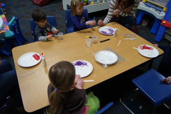 We created faces out of paper plates.  The mouths of each face can be changed to change the feeling of the face.
