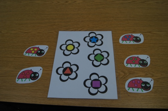 I found this center here.  It is designed as a file folder activity, however for my class, I used it differently.  The kids placed the ladybug on the flower with the matching shapes.
