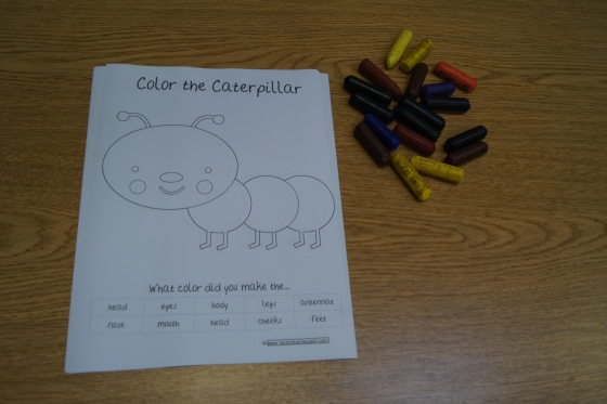 Here is another one, from here, where the kids name the different body parts of a caterpillar and colors them.