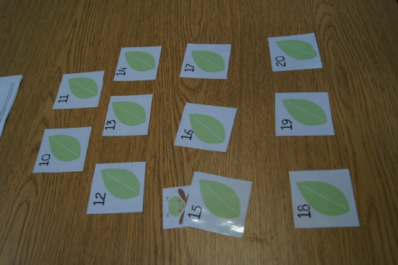 "I found a really neat ""Pretty Bug Pack"" here.  I used a couple of centers from it.  This one has leaves numbers from 1-20 and little dragonfly.  I only used 10-20, since we have done so many 1-10 activities already.  The kids or parent hides the dragonfly under a leaf and other person needs to guess which number it is under.  I laminated the pieces."