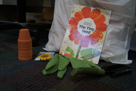 We read The Tiny Seed.  I also picked up a bunch of three packs of small flower pots at the dollar store.  I also bought soil, without any chemicals in it, some gloves (which we didn't end up needing), and a small shovel.