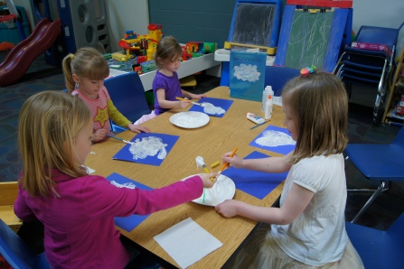 They created different shapes, but mostly ended up filling up their entire piece of paper.  It dried, eventually, and still looked like a cloud.