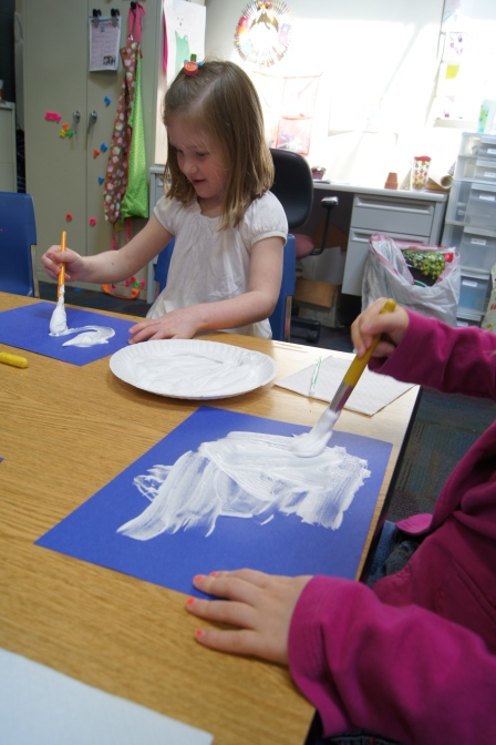 We mixed glue and shaving cream to create a cloud-like consistency.  They loved this activity!  Most of the asked to do it over and over again!