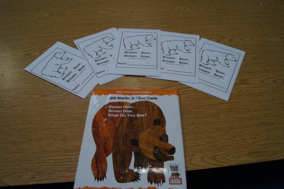 "To combine with last week's theme of Eric Carle (see here) the kids colored and decorated their own version of ""Brown Bear, Brown Bear, What do you see?"".  I found it hear."