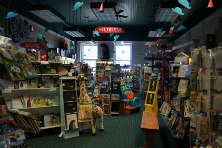 Past the register (with all of the extra unique goodies), is an absolutley wonderful children's section.  They have everything from books (obviously) to supplies to throw a literacy-themed birthday party.  If you have children, grandchildren, nieces, nephews, friends, whatever-this is area can't be beat for stocking up on gifts for the year!  They have something for everyone!  There books are organized by area of interest and reading levels.  There is also a hardy non-fiction and local authors section.