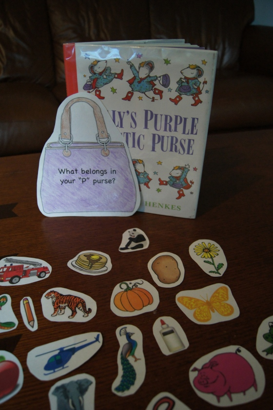 "For Lily's Purple Plastic Purse, I found a ton of clip art, some that started with the letter ""P"".  I printed them and laminated them and did the same with a clip art of a purse.  I attached the purse to a bag and the kids had to just put in the objects that began with the ""P"" sound.  Here is the printable."