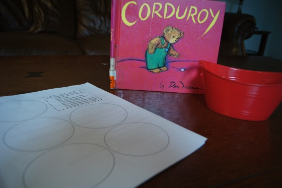 Based on Corduroy, I created a page with circles for kids to sort buttons.