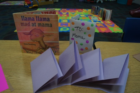 """We read """"Llama, Llama, mad at Mama.""""  In the book, the llama gets mad at his Mama and has quite a fit.  By the end, they make up, like in several of the Llama books.  We created cards to tell our Mamas how much we love them.  I had an example for the kids to see and copy.  They were really cute and I hope that their Mama's enjoyed them!"""