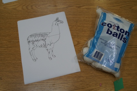 We began by talking about llamas and looking at pictures of real llamas.  We talked about seeing them at the zoo. We talked about what they look like focusing on their wool and ears.  I had a picture of a llama for the kids to color and attach cotton balls for the wool.