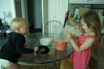 Then the kids stirred in the strawberry puree.