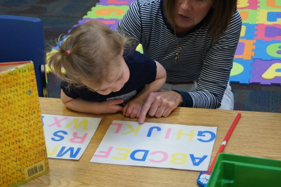 I also had the alphabet written out so the kids could recite their ABC's or find certain letters.