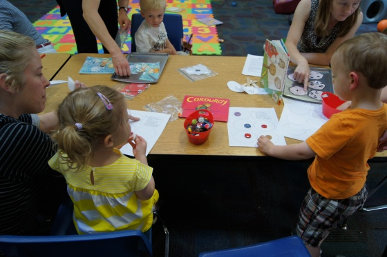 The kids had a great time working together!  We also played Llama, Llama, Colored Pajama Bingo which you can find here.