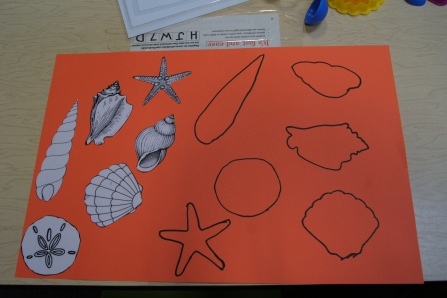 I traced different shaped shells for the kids to match.