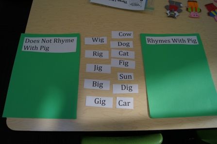 "I made two pocket charts with one that read ""rhymes with pig"" on one and ""doesn't rhyme with pig"" on the other.  Then, I had several words for the kids to sort."