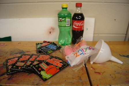Here are the supplies for our final experiment.  We needed pop bottles, pop rocks, balloons, and a funnel (our funnel didn't work that well).