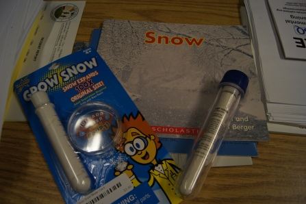 "We started by reading a non-fiction book about snow.  We discussed what snow is made out of, where we find snow, and at what time of year.  I purchased two of the kits shown in the picture.  I wanted to make sure that we had enough of the ""snow"" for each child to enjoy.  Each kit includes"