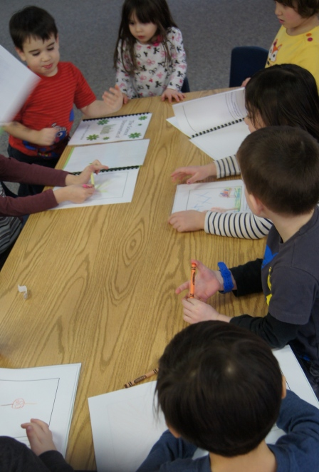 While I was putting the jars together, the kids wrote their findings in their journals.  We talked about how the molecules of the Borax move a lot faster in the hot water and then slower and the solution cools down, forming the crystals.  The kids got a kick out of this and acted out the molecules by running around and then standing really close together.