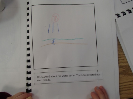 I took a picture of a child's journal entry from today.  This is the ground  (with a seed) and a cloud with rain!